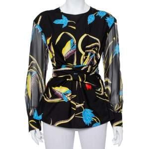 Diane Von Furstenberg Black Printed Cotton & Silk Waist Tie Detail Top M