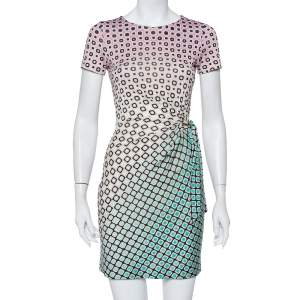 Diane Von Furstenberg Ombre Printed Silk Draped Waist Tie Detail Zoe Mini Dress XS