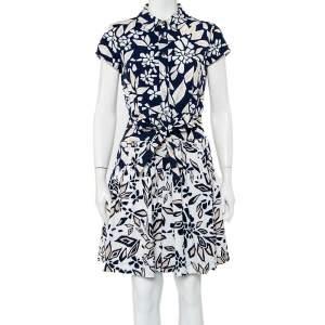 فستان ديان فون فرستنبيرغ ميني سكارلت حزام قطن مطبوع كحلي مقاس متوسط