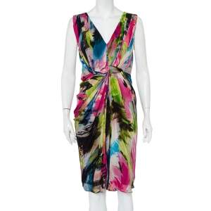 Diane Von Furstenberg  Multicolor Silk Draped Sleeveless Weslie Dress M