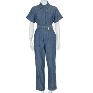 Diane Von Furstenberg Blue Cotton Button Front Belted Jumpsuit S