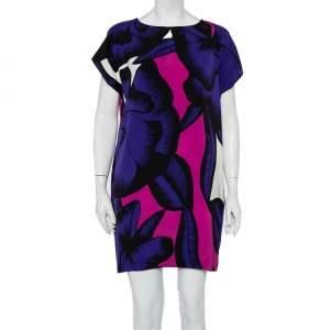 فستان ديان فون فرستنبيرغ كريب أزرق مطبوع نمط واسع مقاس صغير - سمول