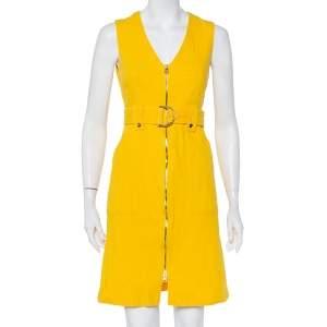 Diane von Furstenberg Yellow Cotton Zip Front Belted Sleeveless Dress S