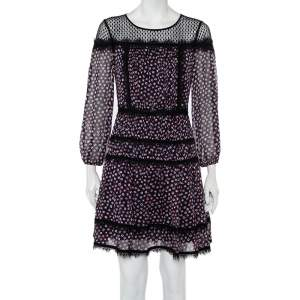 Diane Von Furstenberg Navy Blue Printed Silk & Tulle Paneled Jamie Dress S