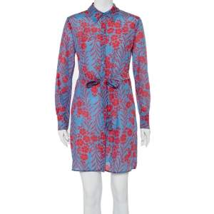 فستان قميص ديان فون فرستنبيرغ ميكانوس بريز قطن أزرق مطبوع بحزام مقاس صغير - سمول