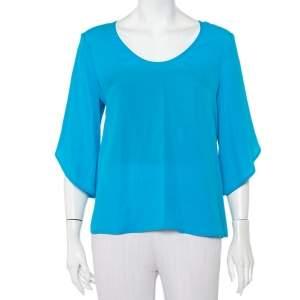 Diane Von Furstenberg  Blue Silk Tulip Sleeve Detail Nancy Top M