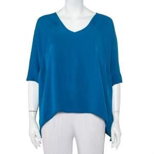 Diane Von Furstenberg Blue Silk Asymmetrical Hem Elsi Top S