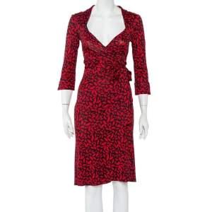 Diane von Furstenberg Black Lip Kiss Printed Silk Knit Gildred Wrap Dress M