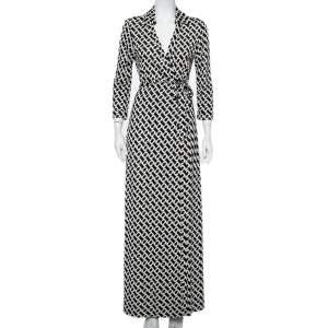 Diane Von Furstenberg Monochrome Silk Abigail Maxi Wrap Dress L