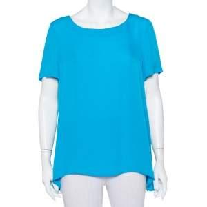 Diane Von Furstenberg Blue Silk Short Sleeve Maggy Top L