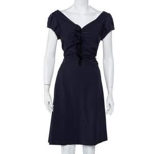 Diane Von Furstenberg Navy Blue Ruffle Detail Samaya Dress L