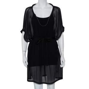 Diane Von Furstenberg Black Silk Chiffon Sol Dress XL