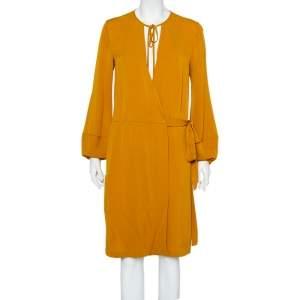 Diane Von Furstenberg Mustard Yellow Silk Mini Wrap Nove Dress M