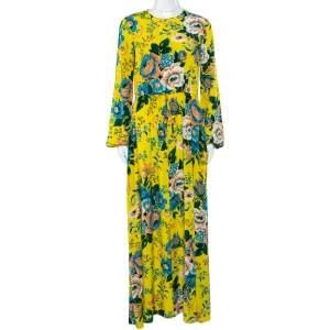 Diane von Furstenberg Yellow Floral Printed Silk Waist Tie Detail Maxi Dress S