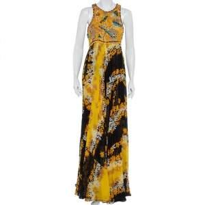 Diane Von Furstenberg Multicolor Cotton Embellished Yoke Detail Maxi Dress XL