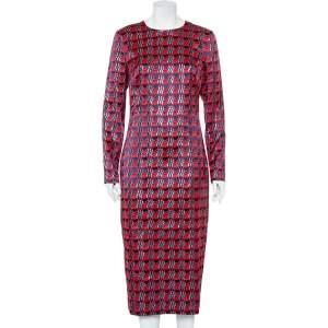 Diane Von Furstenberg Red Patterned Lamé Maxi Dress L