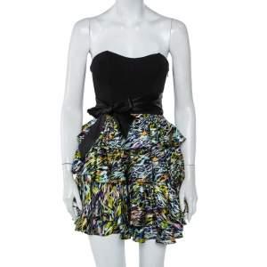 فستان ميني ديان فون فرستنبيرغ ساتان وتريكو متعدد الألوان بشريط خصر مزين بلا حمالات مقاس صغير جدًا - إكس سمول