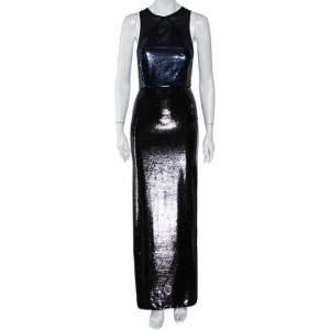 Diane Von Furstenberg Navy Blue & Black Sequined Silk Sheer Back Detail Gown XS