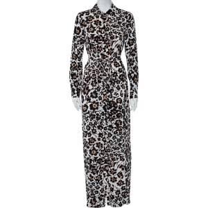 Diane Von Furstenberg Beige Handpainted Floral Printed Silk Belted Amina Dress M