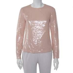 Diane von Furstenberg Peach Sequin Embellished Menaro Blouse S