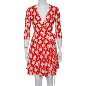 Diane von Furstenberg Orange Palm Printed Silk Mini Wrap Dress M