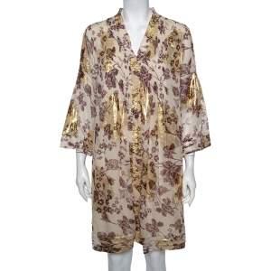 Diane von Furstenberg Cream Floral Printed Fil Coupe' Pintuck Detail Layla Dress L