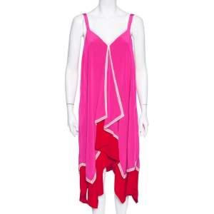Diane Von Furstenberg Pink & Red Silk Asymmetric Hem Wren Dress M