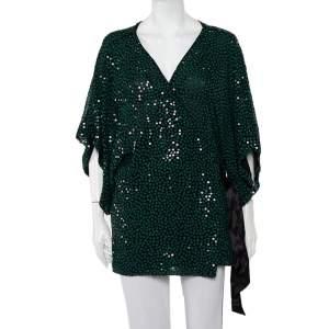 Diane Von Furstenberg Green Sequin Embellished Kallina Wrap Top L