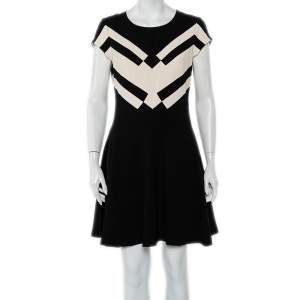 Diane von Furstenberg Black Crepe Contrast Panel Gail A-Line Dress M