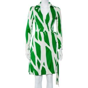 Diane Von Furstenberg Beige & Green Printed Silk Knit Collared Mini Wrap Dress L