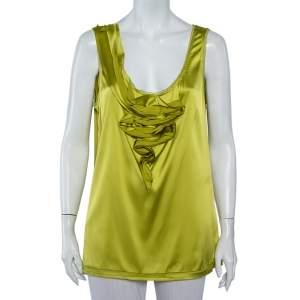 Diane Von Furstenberg Green Silk Satin Draped Detail Imara Top XL