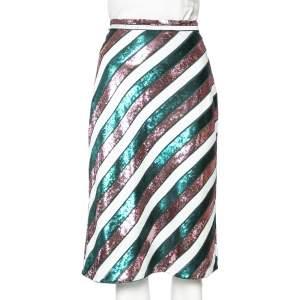Diane Von Furstenberg Multicolor Striped Sequin Embellished Silk Skirt M
