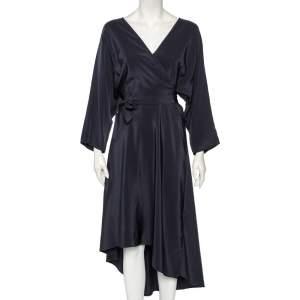 Diane Von Furstenberg Midnight Blue Silk Asymmetric Hem Faux Wrap Eloise Dress L