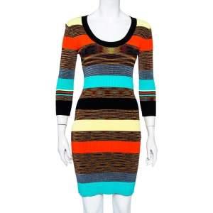 Diane Von Furstenberg Multicolor Striped Rib Knit Bodycon Dress S