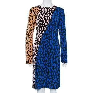 Diane Von Furstenberg Multicolor Animal Printed Crepe Paneled Shift Dress L