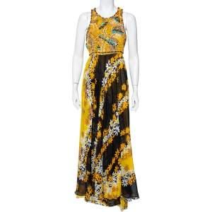 Diane Von Furstenberg Multicolor Cotton Beaded Macrame Yoke Detail Maxi Dress XL