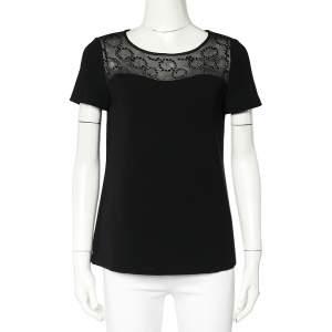 Diane Von Furstenberg Black Crepe Embellished Neck Detail Top S