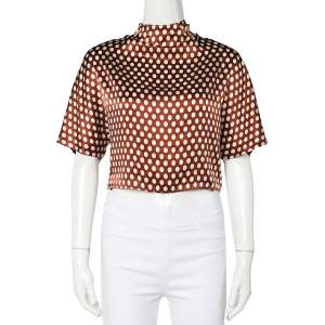 Diane Von Furstenberg Brown Polka Dot Silk Neck Tie Detail Short Top S