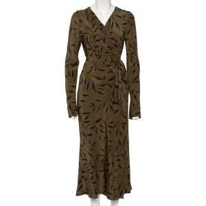 Diane Von Furstenberg Green Leaf Printed Silk Maxi Wrap Dress L