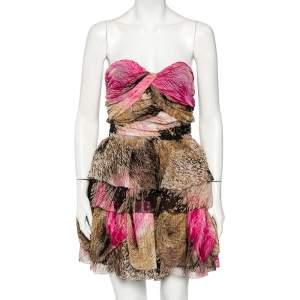 Diane von Furstenberg Multicolor Printed Silk Strapless Brighton Mini Dress M