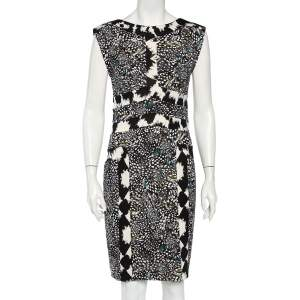 Diane von Furstenburg Black Printed Silk Knit Stirling Sheath Dress M