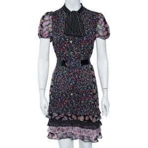 Diane Von Furstenberg Black Multiprinted Silk Neck Tie Detail Belted Gypsy Dress M