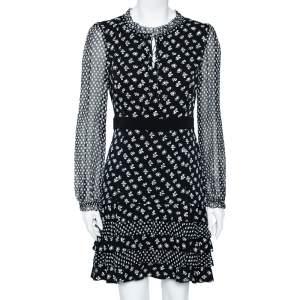 Diane Von Furstenberg Monochrome Floral Printed Silk Ruffle Detail Fionna Dress M