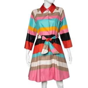 Diane von Furstenberg Multicolor Striped Coated Cotton Belted Flared Lab Coat S