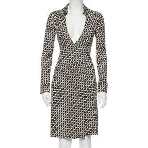 Diane Von Furstenberg Monochrome Printed Silk Knit Midi Wrap Dress S