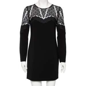 Diane von Furstenberg Black Lace & Crepe Dahlia Dress S