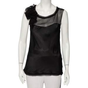 Diane Von Furstenberg Black Silk Draped Detail Sleeveless Mell Top L