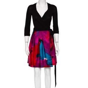 Diane Von Furstenberg Multicolor Wool & Knit Paneled Jewel Mini Wrap Dress XS