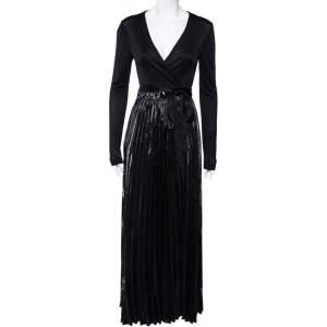 Diane von Furstenberg Black Knit & Metallic Plissé Heavyn Maxi Wrap Dress S
