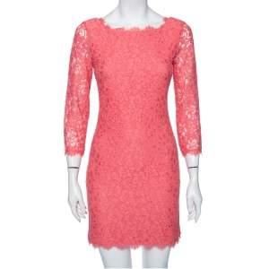 Diane Von Furstenberg Bright Coral Lace Zarita Mini Dress S